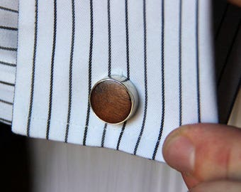 Wood and Sterling Cufflinks- Free Shipping