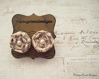 Ch.5  Vintage Paper Earrings --- Discover the Fairytale, Vintage Paper Rosebud Earrings, OriginalOOAK Design, Handmade