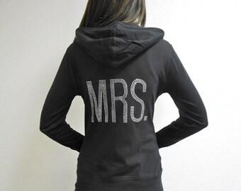 MRS. Hoodie. Cotton Bride Hoodie Sweatshirt. Zip Up Hoodie. MRS. Rhinestones. Honeymoon Hoodie. Newlywed Hoodie. Just Married Hoodie.