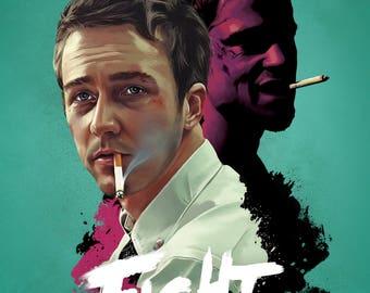 Fight Club Brad Pitt Norton Cult Film Movie Poster Print Retro Vintage A1 A2 A3 A4