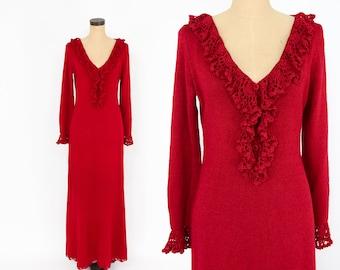70s Red Dress   Red Knit Maxi Dress   Medium Large