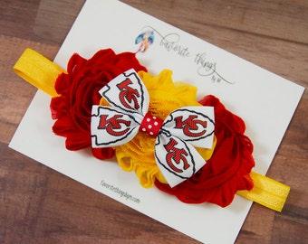 Kansas City Chiefs Headband. Chiefs Headband. Chiefs Flower Headband. Shabby Flower Headband.