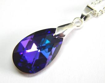 Purple Swarovski Teardrop Necklace - Heliotrope Crystal - Swarovski Elements - Purple Teal Crystal Teardrop - Purple Crystal Necklace