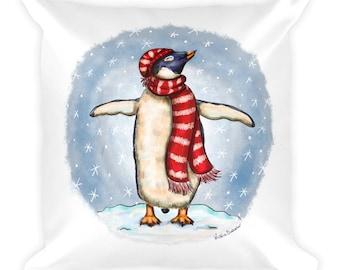 Winter Penguin Square Pillow
