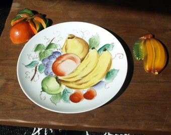 Hand Painted Fruit Design Plate with Two 3D Plaster Fruit Wall Art