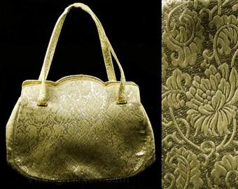 50s Evening Handbag - Gold Floral Metallic Brocade 1950s Formal Bag - Scrollwork Leafy Motif - 2 Handles - Satin Lining & Coin Purse - 48069
