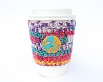 Octopus Button travel mug cup cozy coffee crochet Multi colored