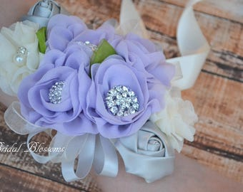 Lavender Silver Ivory Chiffon Satin Flower Wrist Corsage | Vintage Inspired Wedding | Prom Homecoming Dance Mother of Bride Orchid Purple
