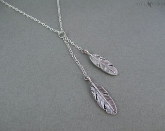Feathers Lariat Charm Necklace - Silver