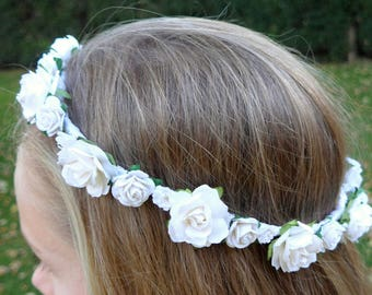 Rose Crown Head Garland for Holy Communion or Flower Girls - Various Colours