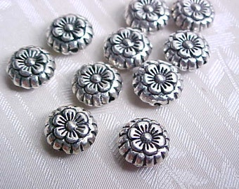8mm Daisy Beads Daisy Flower Beads Metal Flower Beads Pewter Flower Beads Silver Flower Beads Macrame Beads Large Hole Beads (10)