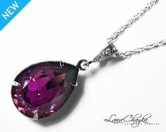 Amethyst Crystal Necklace Purple Teardrop Rhinestone Wedding Necklace Swarovski Amethyst Sterling Silver CZ Necklace Wedding Purple Jewelry