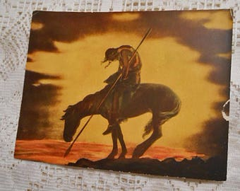 END of TRAIL Original Litho Print, Rich Gold Brown Sunset, Indian Silhouette, Native American Defeat Symbol James Earle Frazier Art 7 x 9