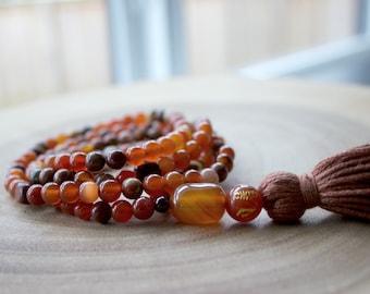 Gemstone Mantra and Tassel Necklace / GemStone Beaded Necklace