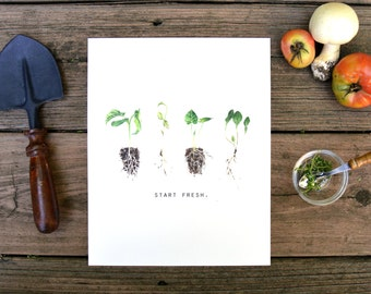 Start Fresh, Sprout, Seedling, Watercolor, Food Illustration, Kitchen Decor, Inspiration, Art Print, 8x10