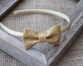 Gold hard headband gold glitter bow headband plastic headband sparkle bow girls headband birthday adult toddler