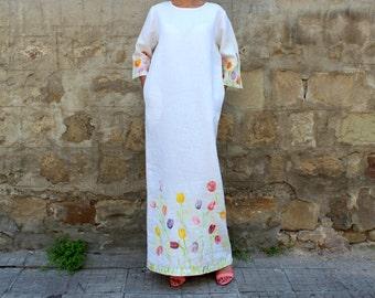 White dress/ White Linen dress/ Linen Clothing/ White summer dress/ Plus size dress/ Plus size clothing/ Robe/ Kaftan/ Caftan/ 057.273