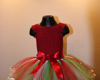 Christmas crochet-top ribbon tutu dress