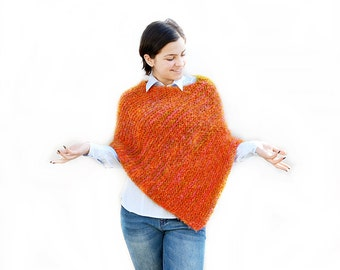 Chunky Hand Knit poncho, Knitted poncho, Wool knit mix orange pink olive poncho , Boho, Chunky knit poncho, gift for her