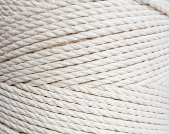3mm cotton rope 100 m nautical rope Soft rope for your DIY, crafts or macrame projects. Macrame cord. Macrame rope. Macrame cotton rope