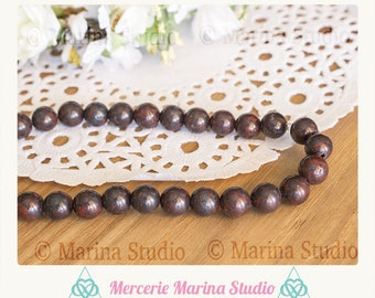 10 pearls 8mm natural red brecciated Jasper jasper - rare pearls