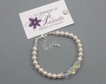 Bracelet de mariage vintage rétro perles nacrées et trio de perles de cristal et rondelles strass, accessoires - Bridal rhinestone bracelet