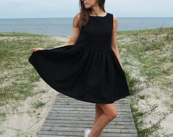 Linen dress, Black linen dress, Black linen, Linen womens dress, Maternity dress, Small Medium size dress, Linen clothing, Linen black dress
