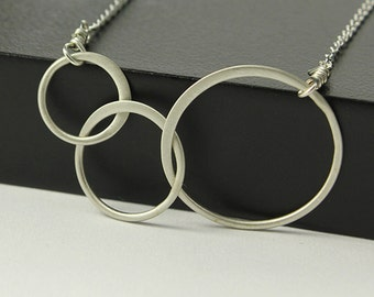 Matte Finish Infinity Necklace, Sterling Silver Linked Circles, 3 Rings Simple Necklace