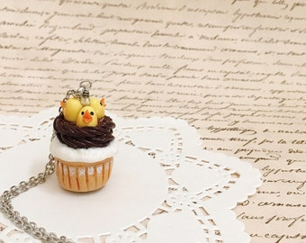 Mini cupcake necklace|Polymer clay chicks cupcake charm|Minuature food|Food jewelry|Kawaii gift|