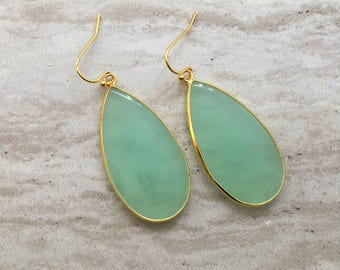 Carter Drop Earrings,Green Tourmaline  Gemstone Earrings, Gold Earrings, Wedding Earrings, Green Drop Earrings, Green Stone Earrings