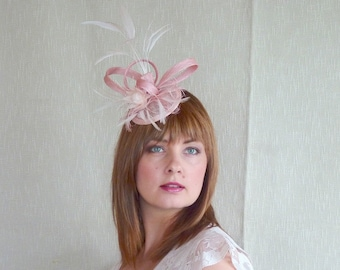 SALE - Blush Pink Feather and Sinamay Fascinator - Pink Bridesmaid Fascinator - Wedding fascinator
