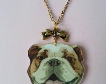 ♥ dog head and great Dane/mastiff ♥ ♥ ♥ gold bow pendant
