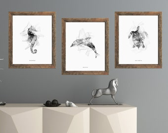 Sea printable art, sea creatures art, nautical set prints,ocean animal art,printable art set,set of 3 prints,sea horse wall art,turtle decor