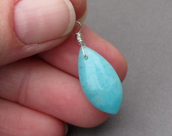Sterling Silver Wire Wrapped Amazonite Pendant, Interchangeable Pendant, Amazonite Charm Dangle with Jump Ring Stone 3