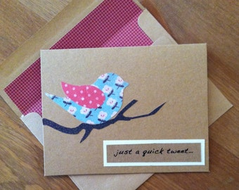 """Set of 8 """"Just a Quick Tweet"""" Handmade Greeting Cards"""