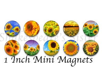 Sunflower Magnets - Refrigerator Magnets - Set of 10 Mini Magnets - 1 Inch Magnets - Sunflower Kitchen