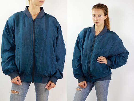 Vintage Silk Jacket Silk Bomber Jacket Vintage Bomber Jacket Blue Bomber Jacket 90s Bomber Jacket Balloon Jacket Silk Bomber Jacket Blue