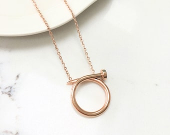 Nail Pendant Chain Necklace Rose Gold Plated