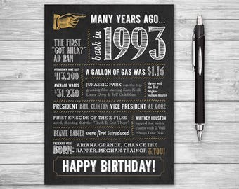 25th birthday card etsy 5x7 25th birthday printable folding greeting card many years ago back in 1993 bookmarktalkfo Choice Image