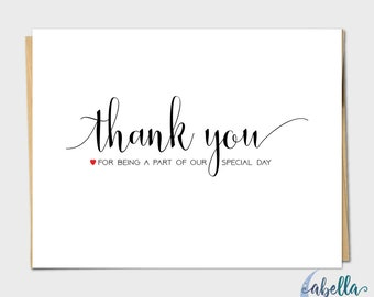 Set of 10 Thank You for Being a Part of our Special Day Wedding Thank You Card, Simple Wedding Card, Wedding Invitation Kit