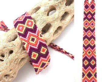 Chevron & diamonds friendship bracelet - wide - string - thread - tribal - embroidery floss - purple - yellow - pink - knotted - woven