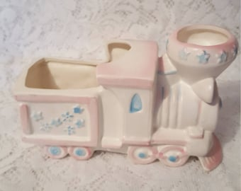 Engine Planter White Trimed with Blue and Pink