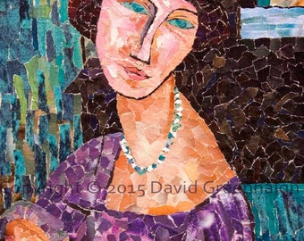Homage to Modigliani No 2. - Signed Fine Art Giclée Print. turquoise portrait print from original collage.