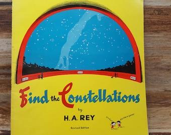 Find The Constellations, 1976, H.A. Rey, vintage kids book, vintage science book