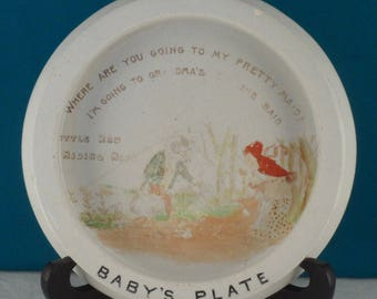 SHELLEY ENGLAND ANTIQUE Little Red Riding Hood Baby Bowl Plate
