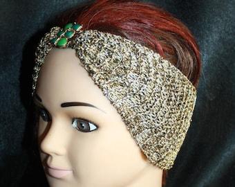 headband gold speckled lurex thread