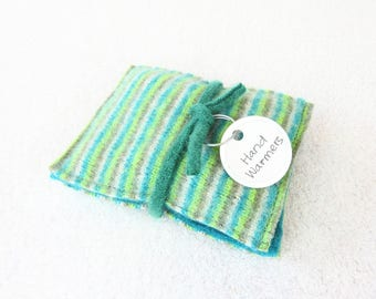 Pocket Hand Warmers Wool TURQUOISE & LIME Striped Eco Friendly Portable Heat Handwarmers by WormeWoole
