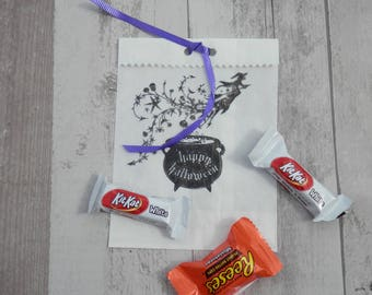 HALLOWEEN CANDY BAGS, Set of 10, Party Favor Bags, Holiday Bags, Trick or Treat Bags, Witches Treat Bags, Witches Cauldron Bags, Candy Bags