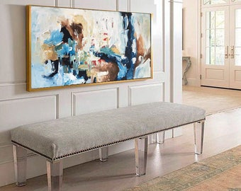 Custom Large Sizes Original Abstract Painting - Acrylic Painting on Canvas. Extra Large Painting - Wall Art, Modern Texture Yellow, Blue