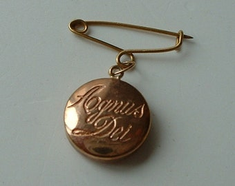 Tiny gold Agnus Dei religious locket pendant and pin